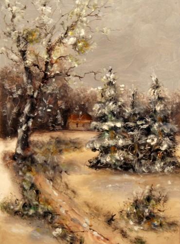 Házikó a téli csendben, 25×36, 35.000.-