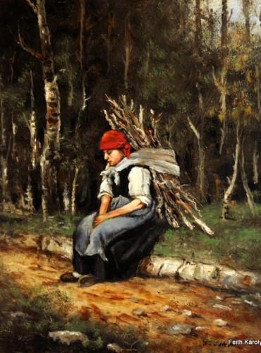 Rőzsehordó nő, 50×40