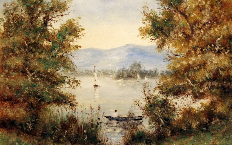 Balatoni horgász, 50×40, 55.000.-