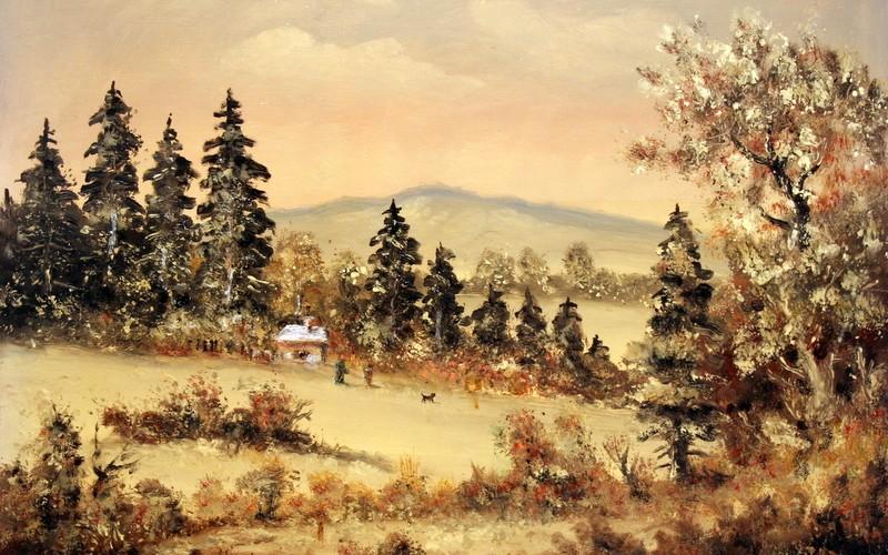 Téli bakonyi táj, 70×50, 95.000.-